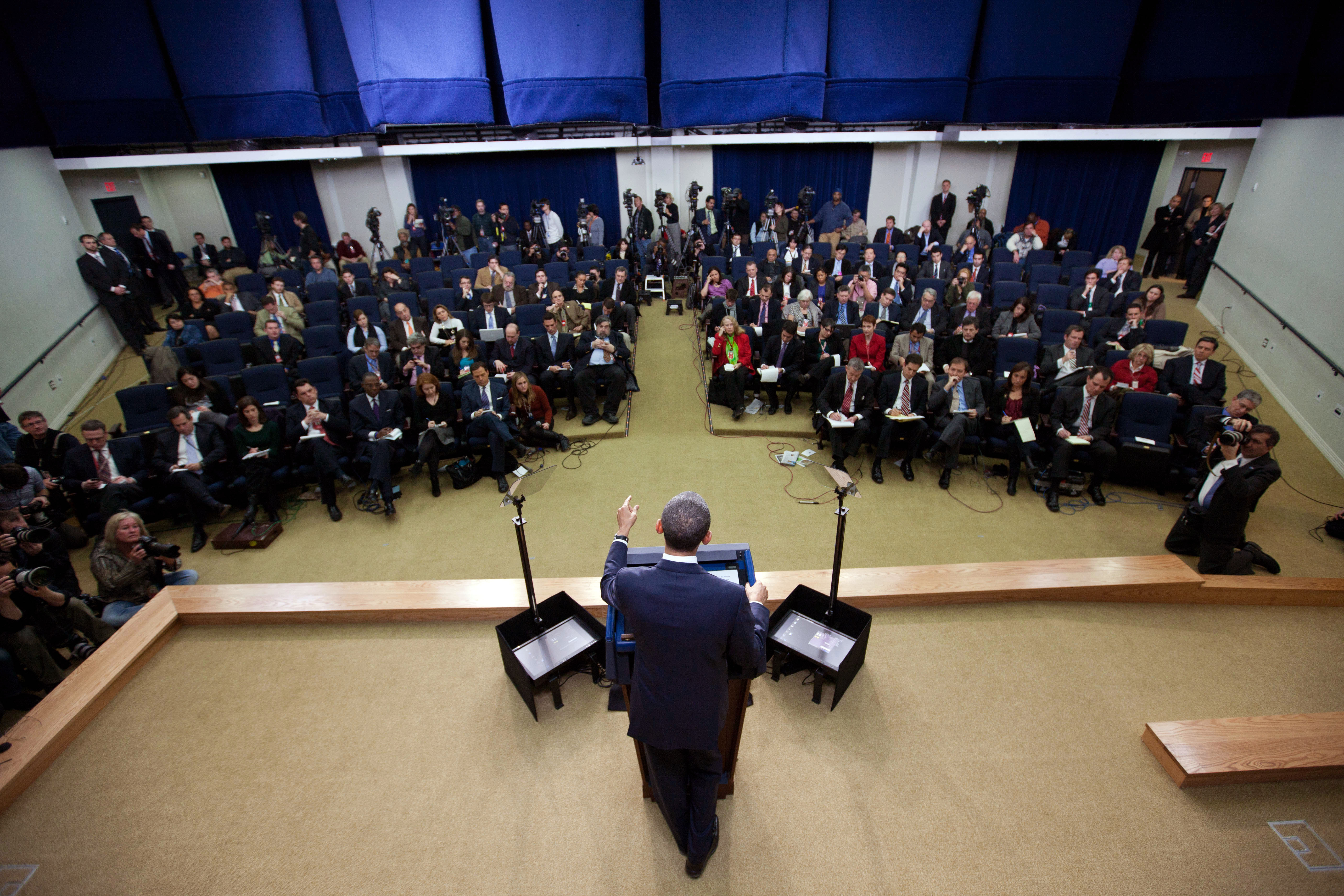 President Barack Obama holds a press conference in the South Court Auditorium