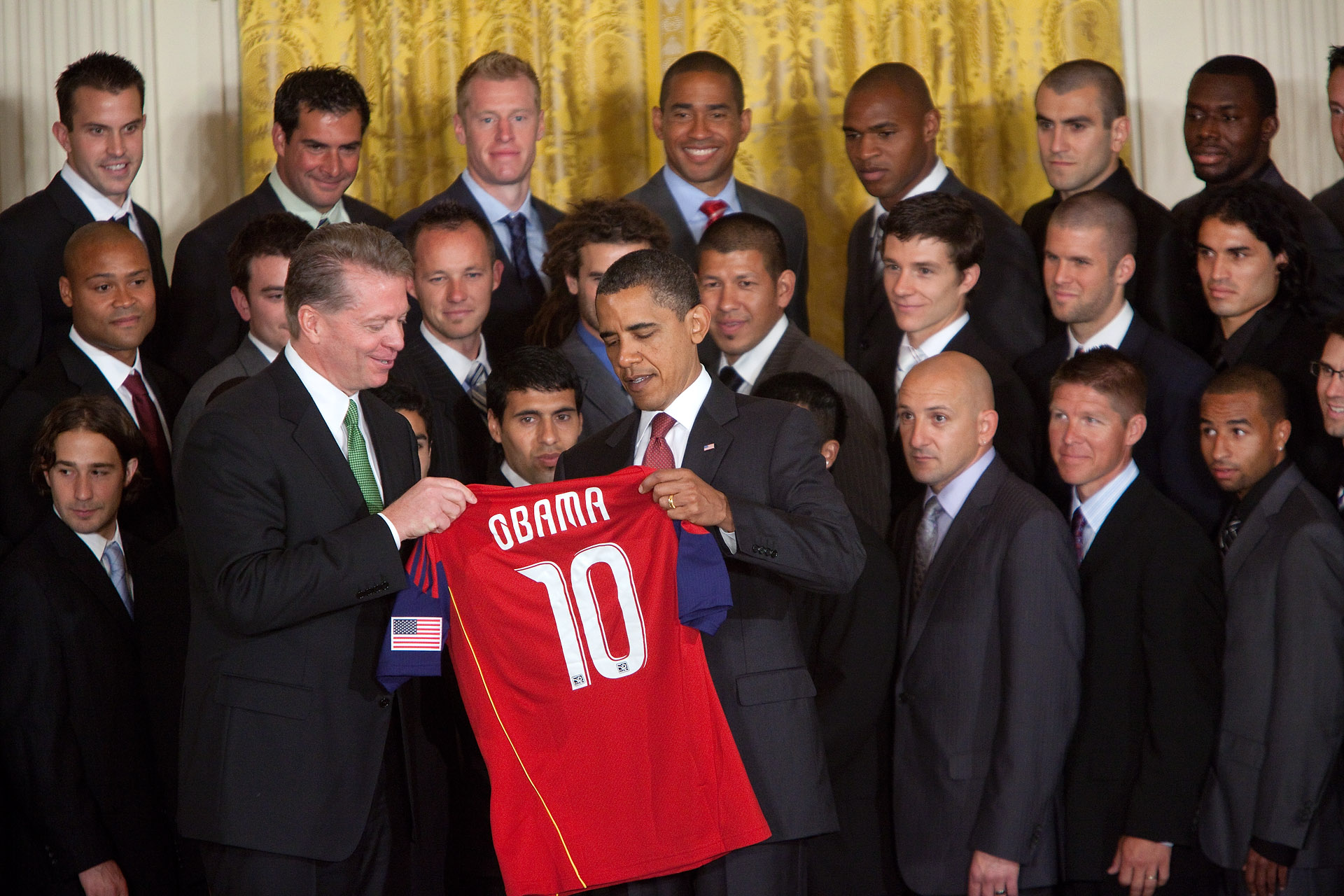 President Obama is Presented with Real Salt Lake Jersey
