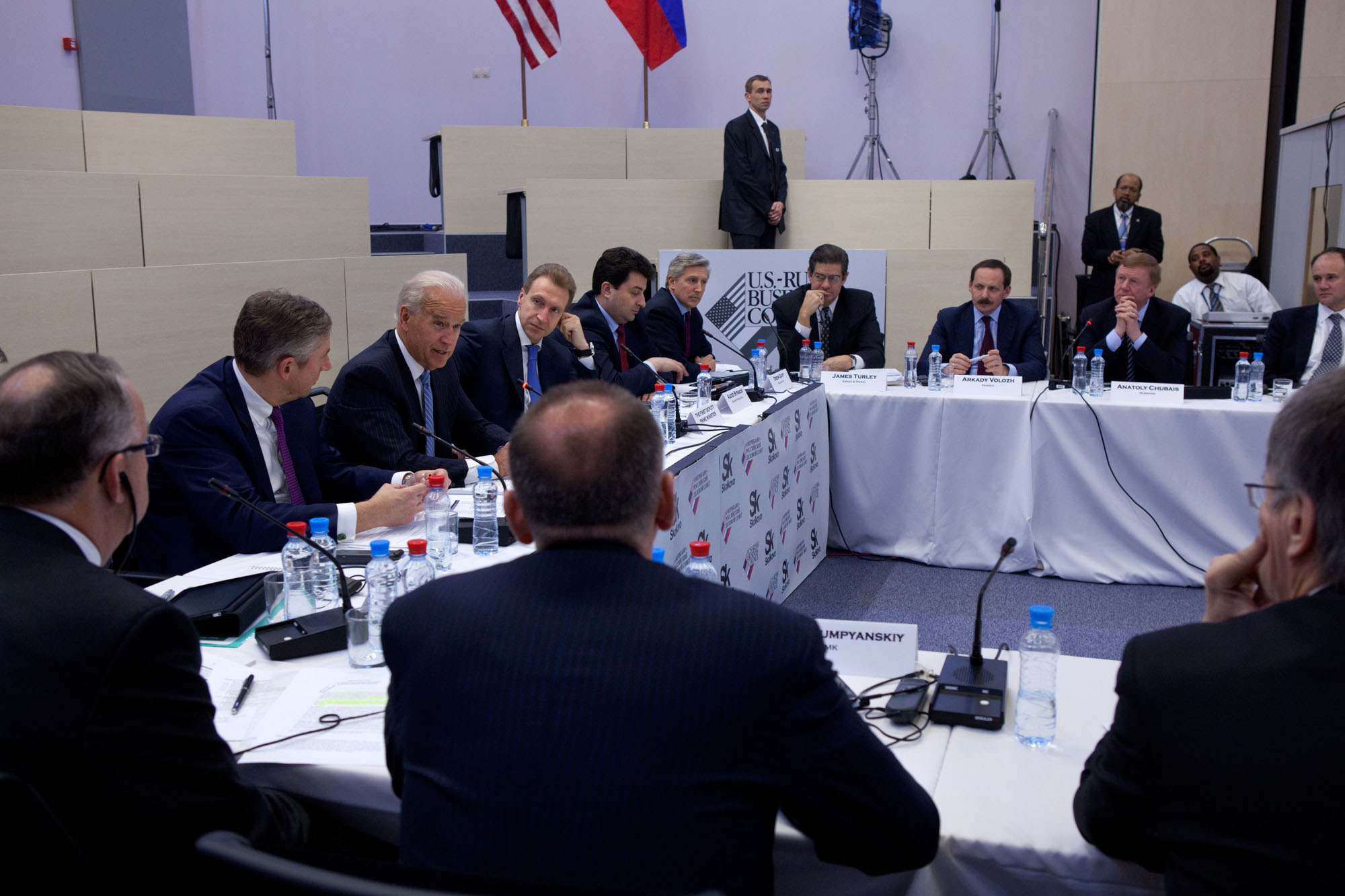 Vice President Joe Biden holds a roundtable discussion with American and Russian business leaders and Russian Deputy Prime Minister