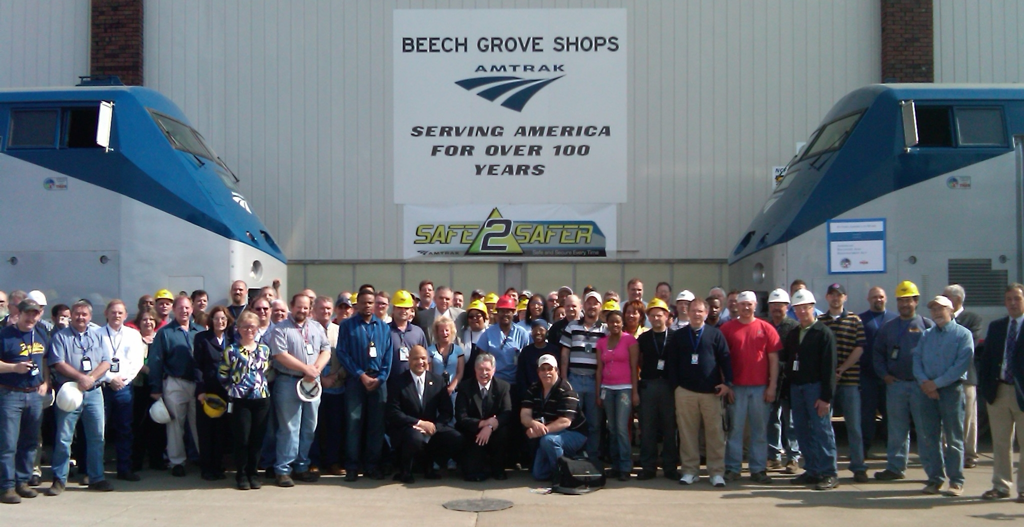 Secretary LaHood with group at Amtrak Maintenance Facility