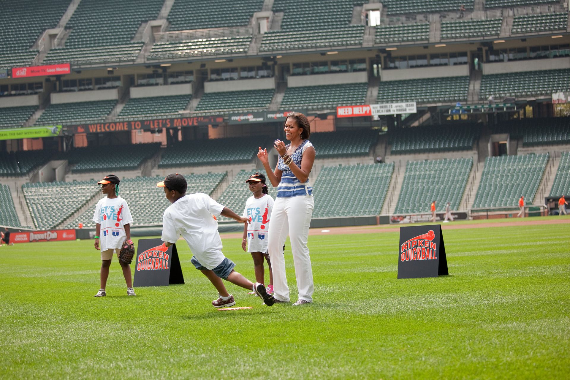 The First Lady Plays Baseball with Kids at Camden Yards