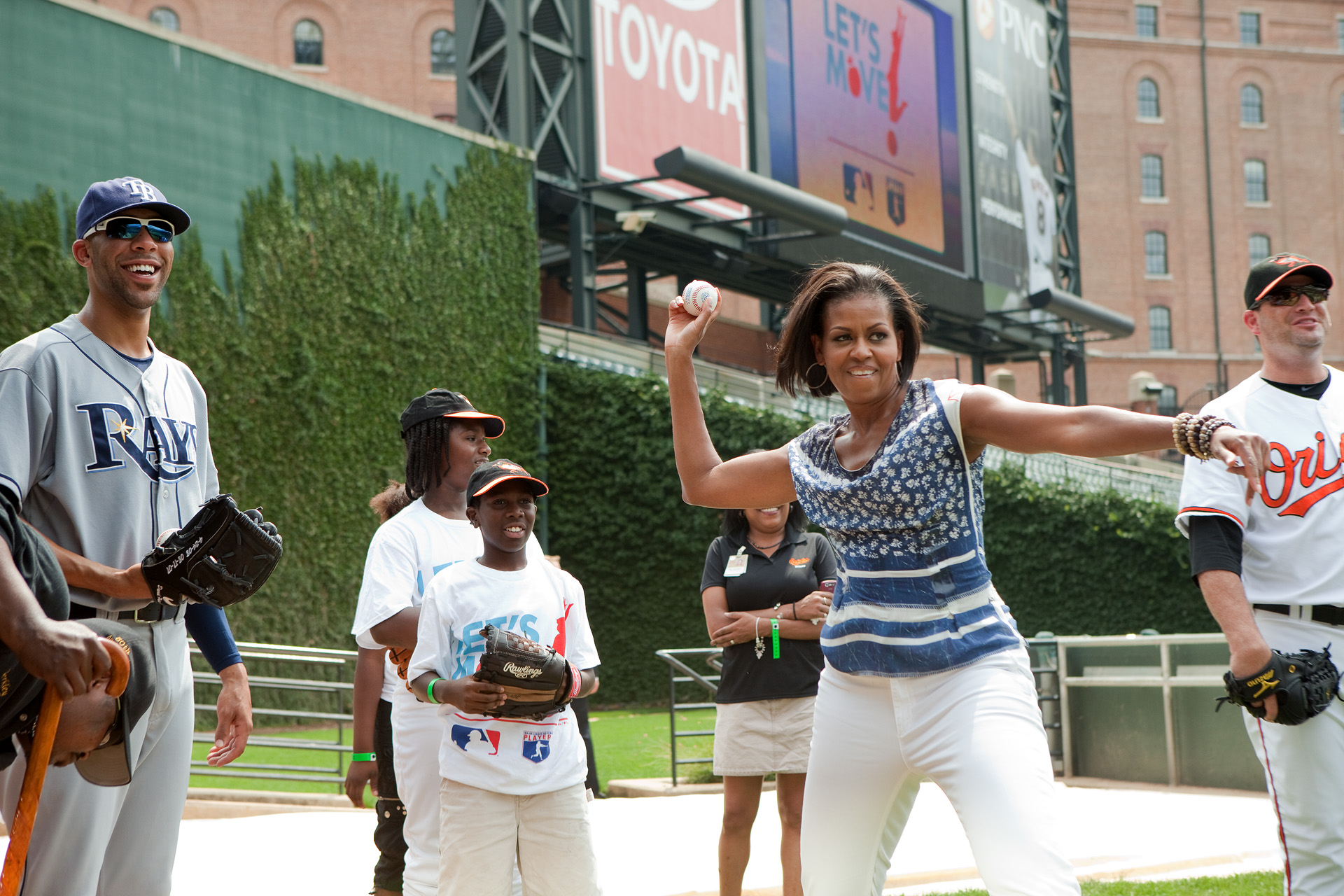 The First Lady Pitches at Camden Yards