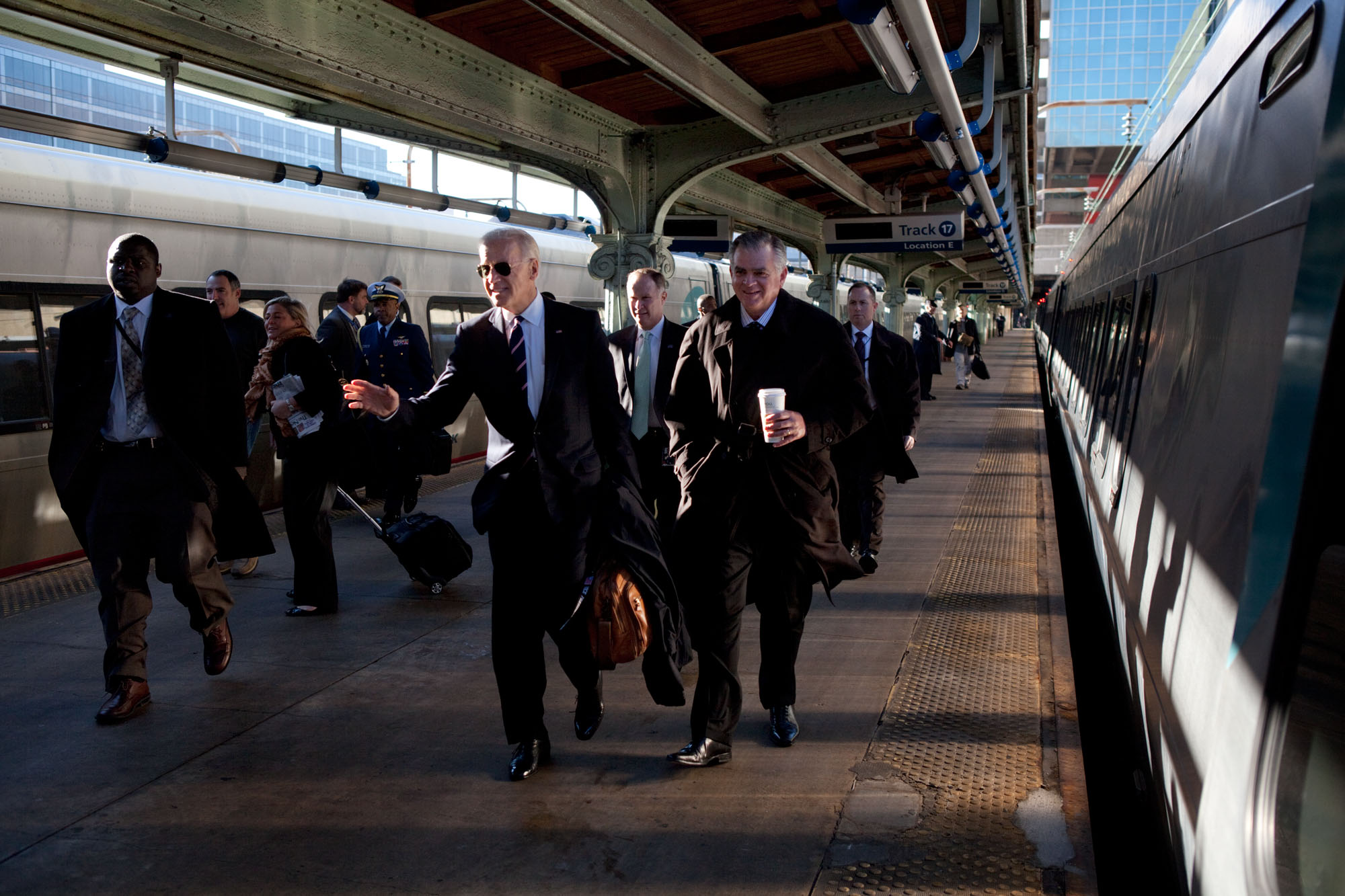 Vice President Biden and Secretary LaHood Board Acela