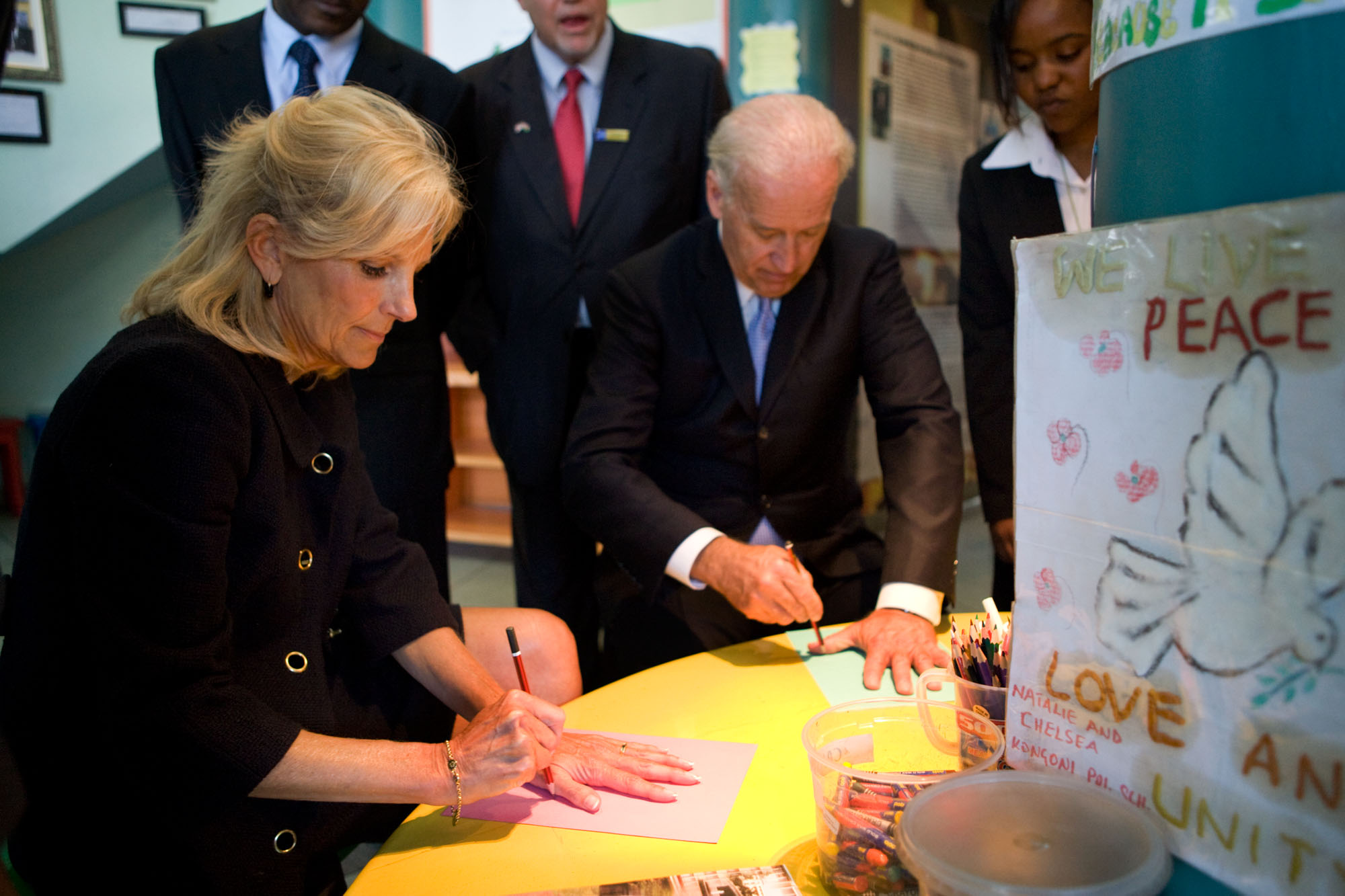 Vice President Joe Biden and Dr. Jill Biden Trace Their Hands During a Visit to the August 7 Memorial Park