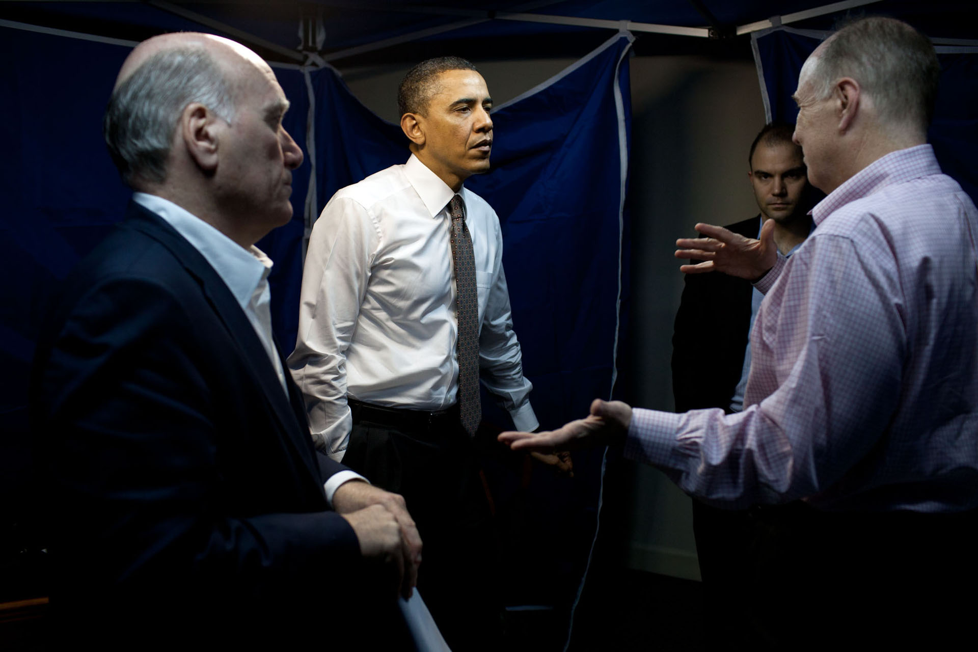 President Obama Confers With Tom Donilon, Bill Daley, and Ben Rhodes
