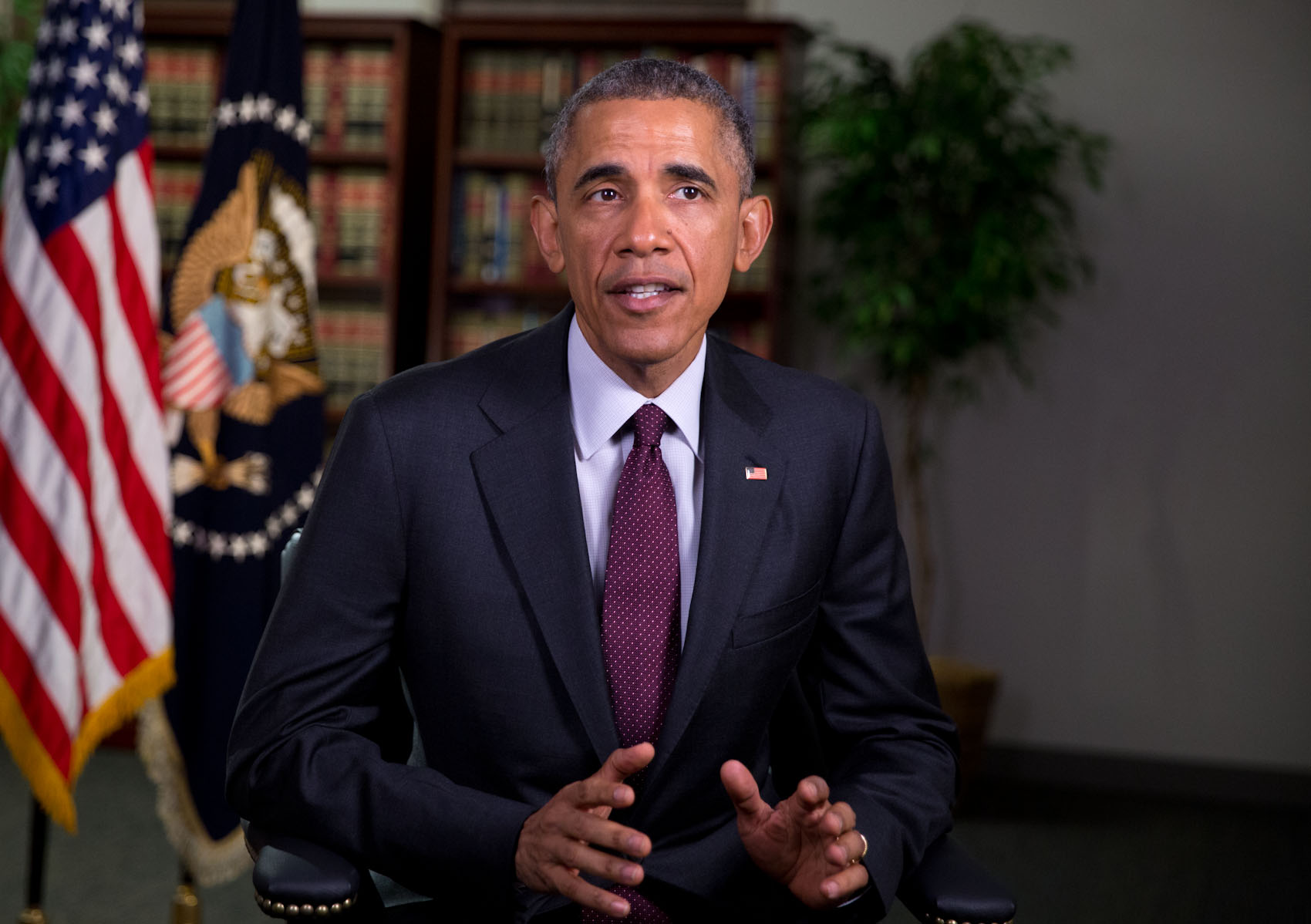 President Barack Obama tapes the weekly address at Hill Air Force Base in Layton, Utah, April 3, 2015