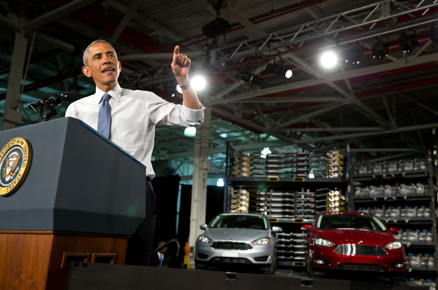 President Obama makes remarks at Ford's Michigan Assembly Plant