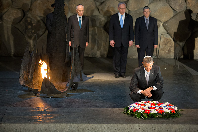 President Obama places a wreath in the Hall of Remembrance at the Yad Vashem Holocaust Museum in Jerusalem, March 22, 2013