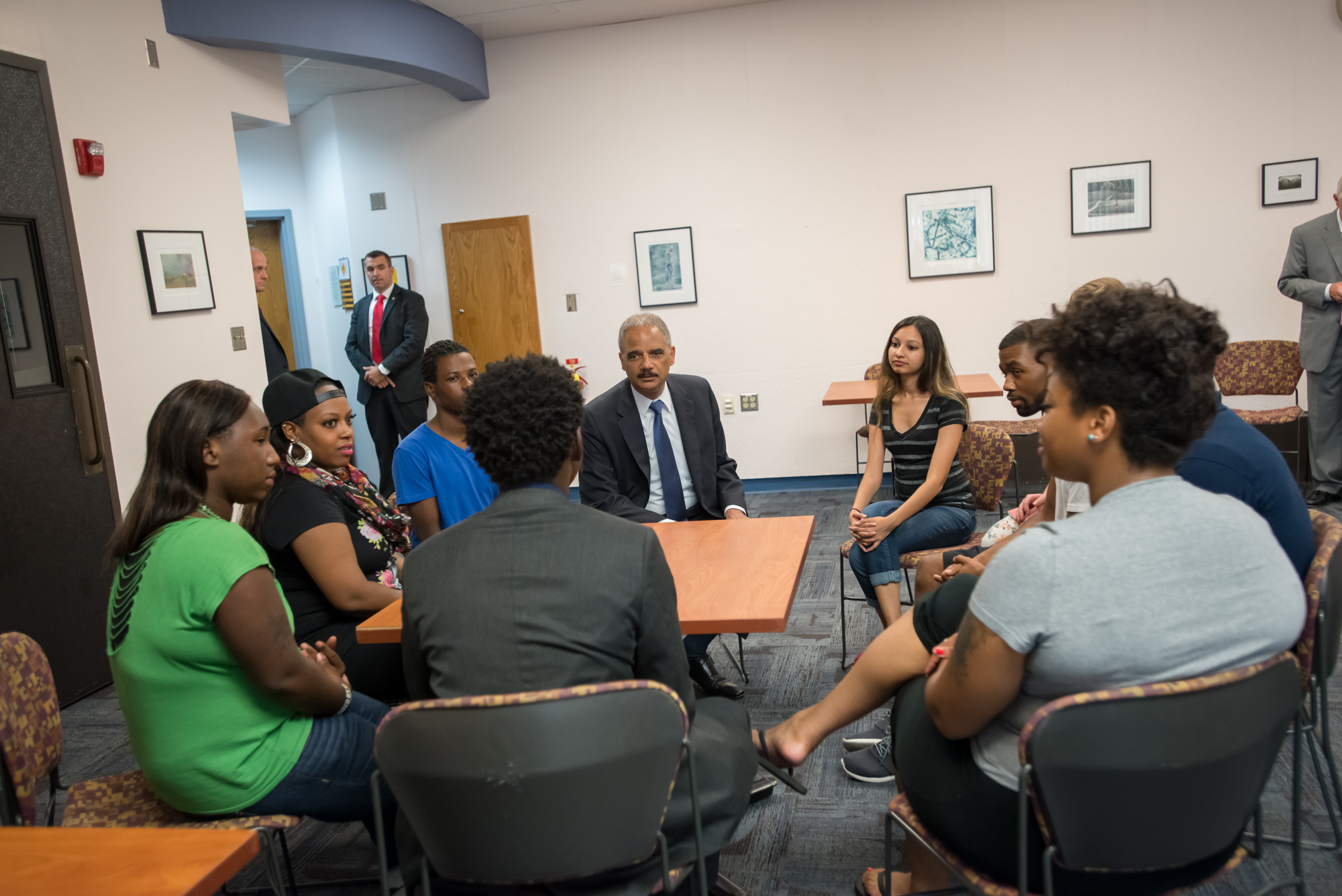 Attorney General Eric Holder meets with students at the Florissant Valley Community College in North St. Louis.