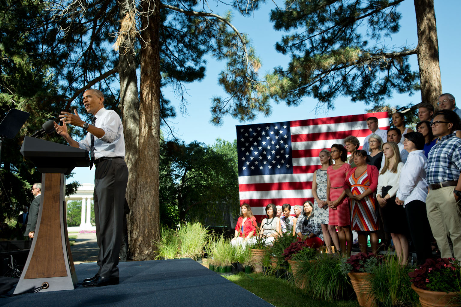 President Obama makes remarks on the economy at Cheesman Park in Denver, Colorado