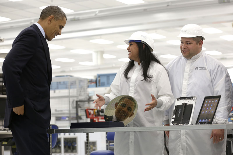 President Barack Obama takes a tour of Applied Materials Inc.