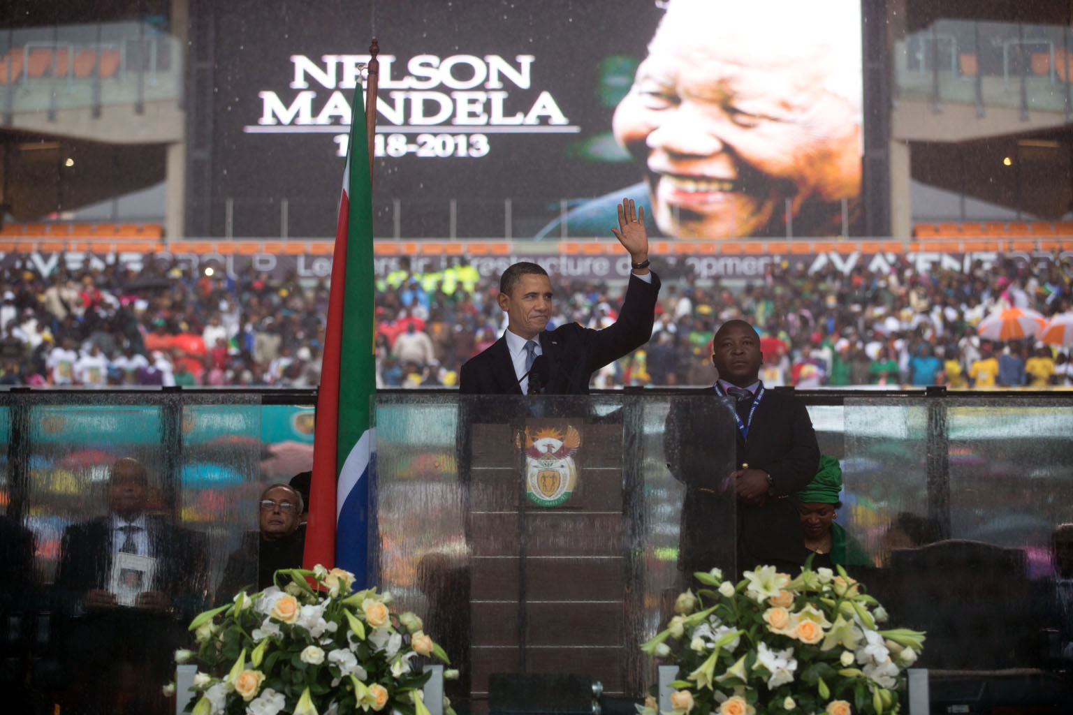President Obama speaks at the memorial service for Nelson Mandela in Soweto, South Africa