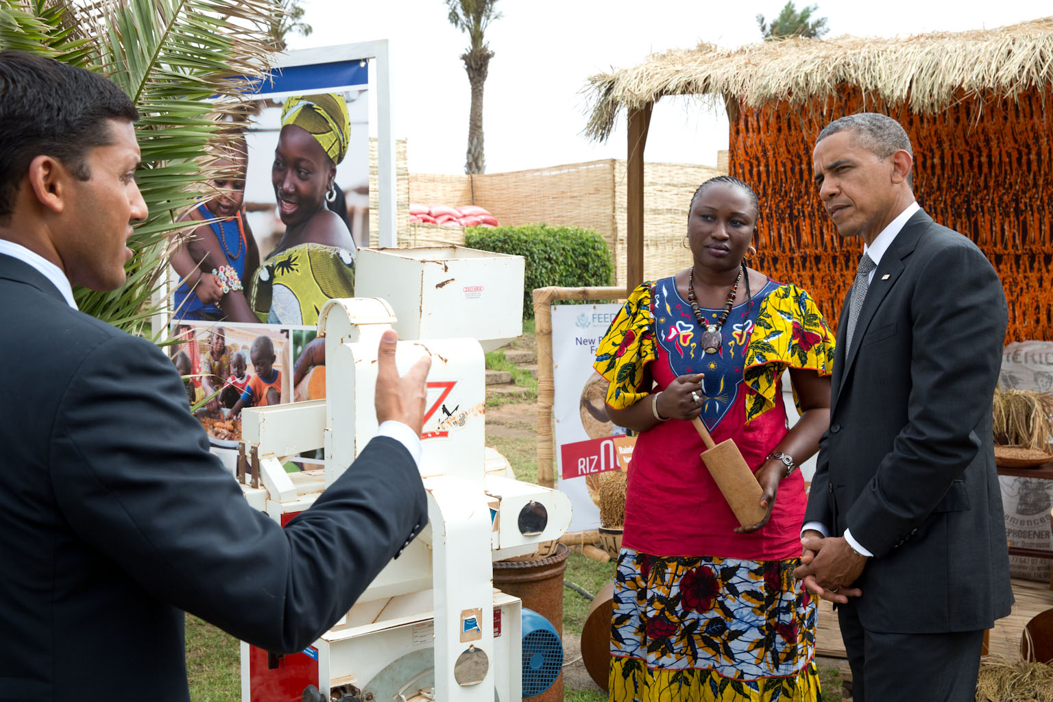 President Barack Obama and USAID Administrator Raj Shah attend a Feed the Future Technology Marketplace