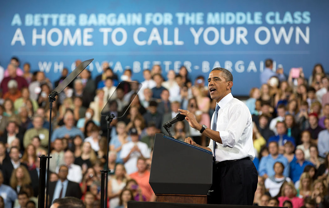 President Barack Obama delivers remarks on housing and home ownership at Desert Vista High School in Phoenix