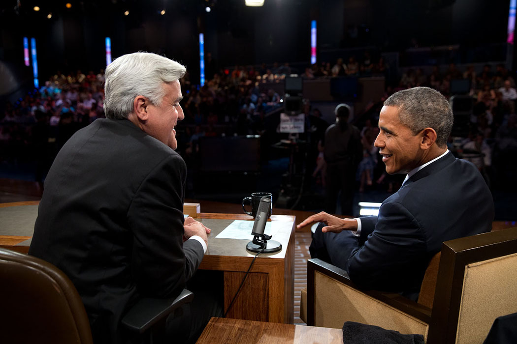 "President Barack Obama joins Jay Leno for a taping of the ""The Tonight Show with Jay Leno"""