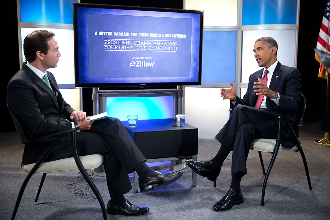President Barack Obama participates in an interview with Spencer Rascoff, CEO of Zillow