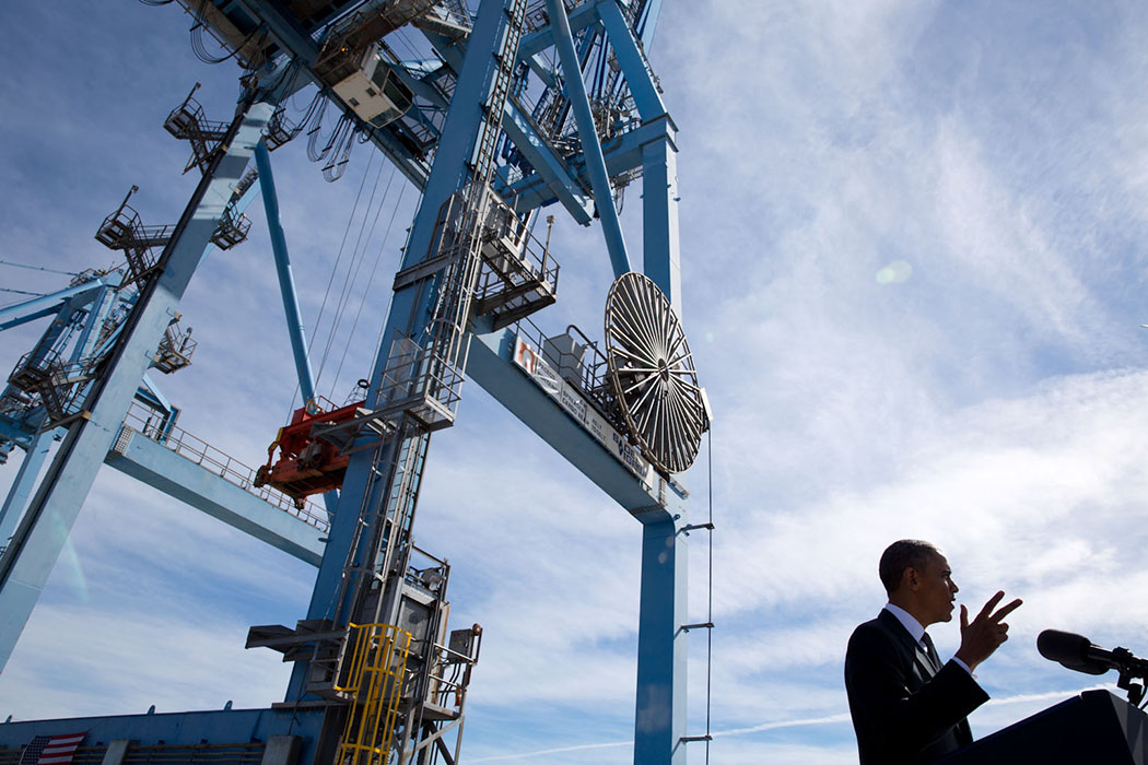 President Barack Obama delivers remarks on the economy and creating jobs by increasing exports, at the Port of New Orleans in New Orleans, La., Nov. 8, 2013