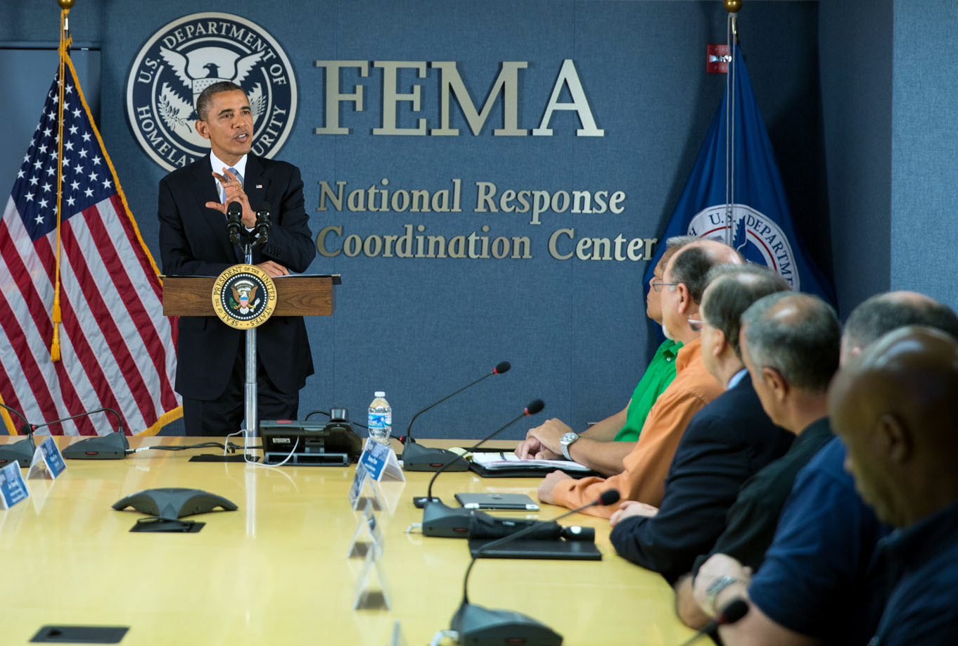 President Obama Meets with FEMA Officials at the National Response Coordinating Center