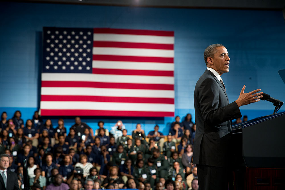President Obama at the Hyde Park Career Academy Chicago, Illinois, Feb. 15, 2013