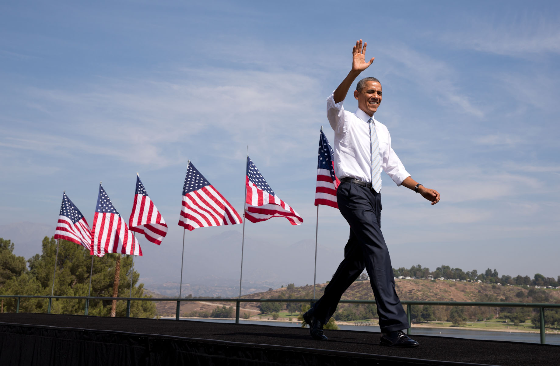 President Obama walks onstage at Bonelli Regional Park to announce the creation of the San Gabriel Mountains National Monument