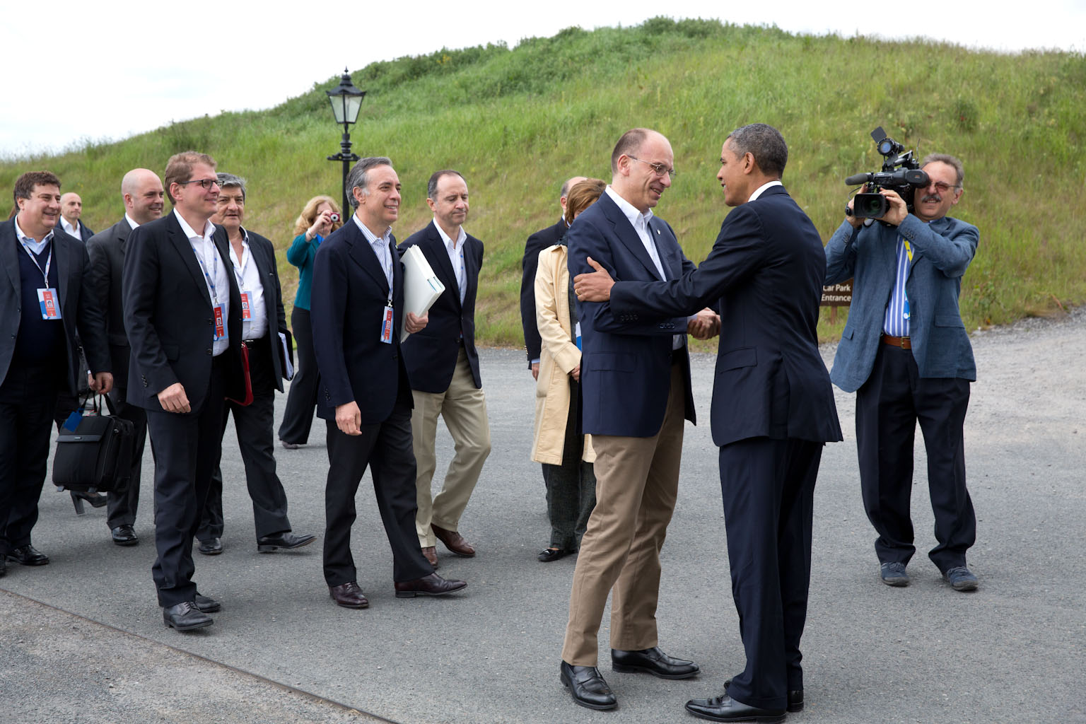 President Barack Obama greets Italy Prime Minister Enrico Letta at the G8 Summit in Lough Erne