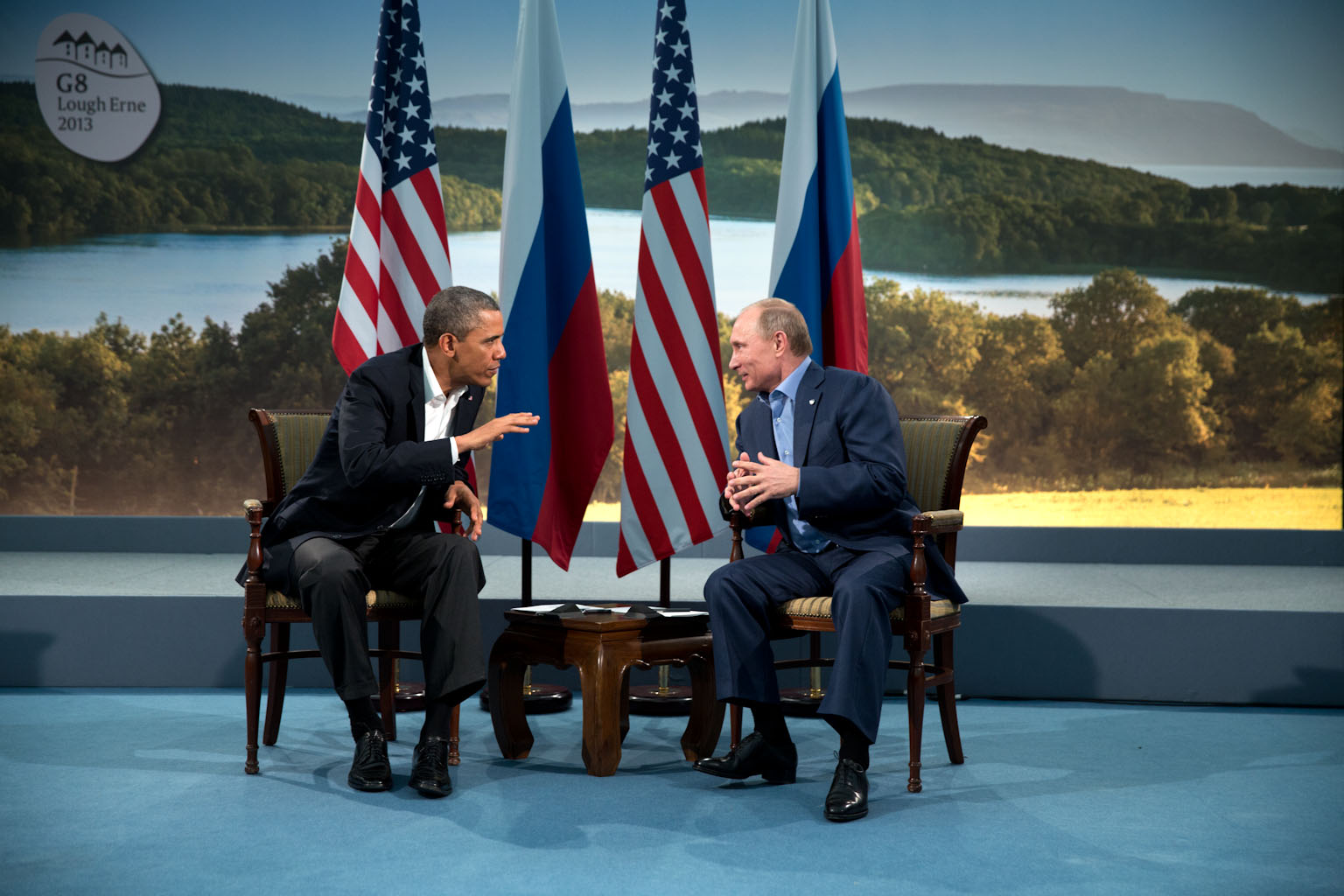 President Barack Obama meets with Russian President Vladmir Putin during a bilateral at the G8 Summit in Lough Erne