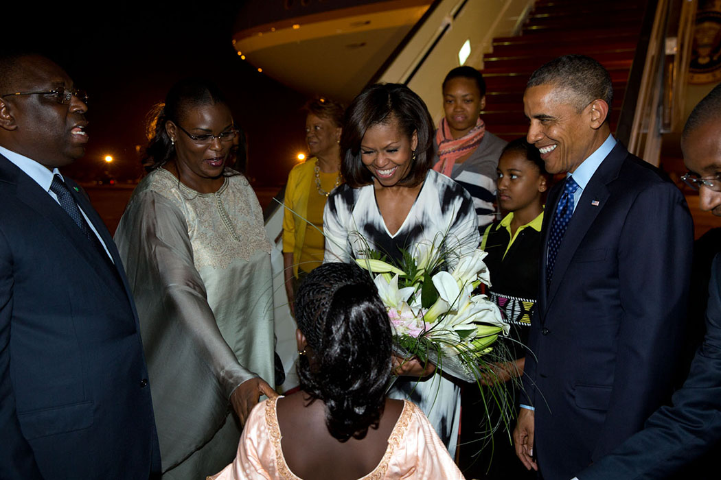 President Barack Obama, First Lady Michelle Obama and members of the First Family are welcomed at Léopold Sédar Senghor International Airport In Yoff, Senegal