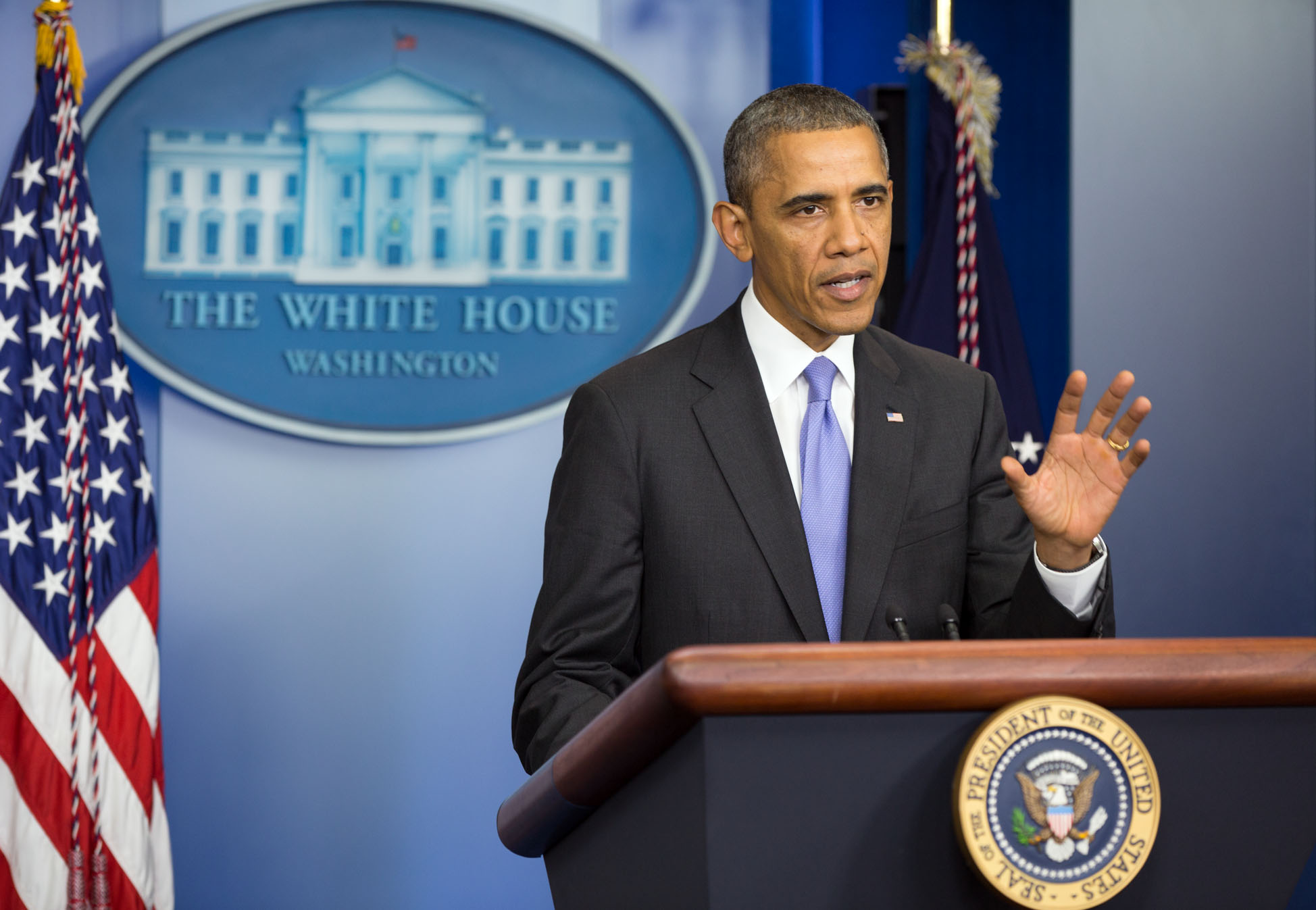President Barack Obama makes remarks in the Press Briefing Room at the White House, Oct. 16, 2013.