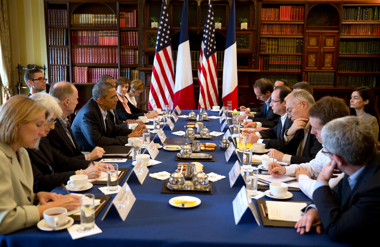President Barack Obama holds a bilateral meeting with French President Francois Hollande at the G8 Summit