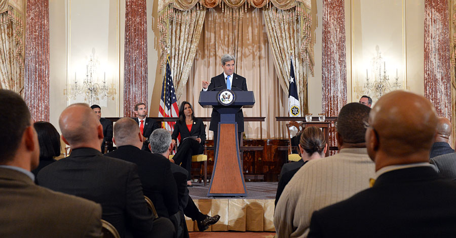 Secretary of State John Kerry speaks to an audience at an event to open the State Department's new Veterans Innovation Partnership fellowship program.