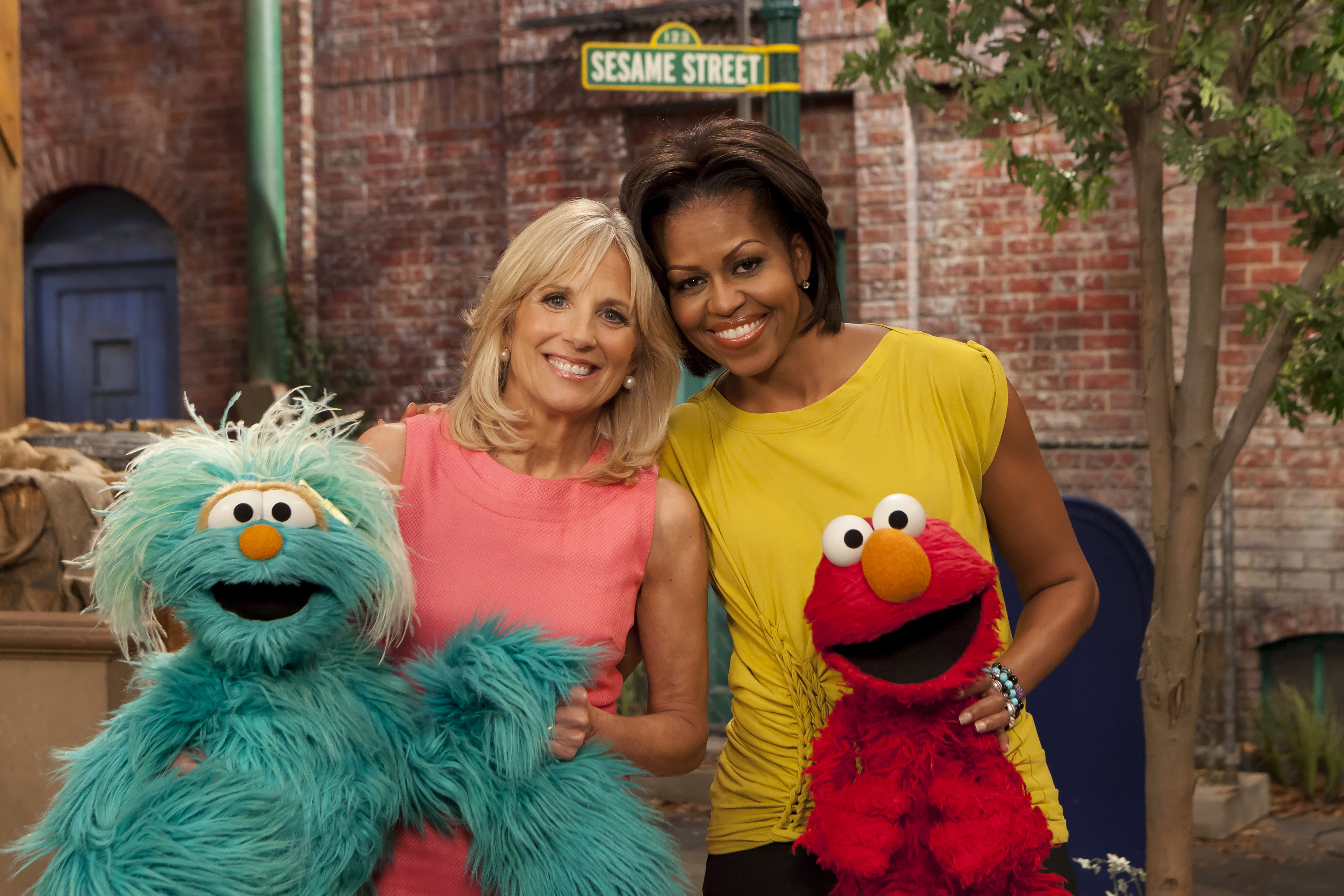 First Lady Michelle Obama and Dr. Jill Biden visited Sesame Street