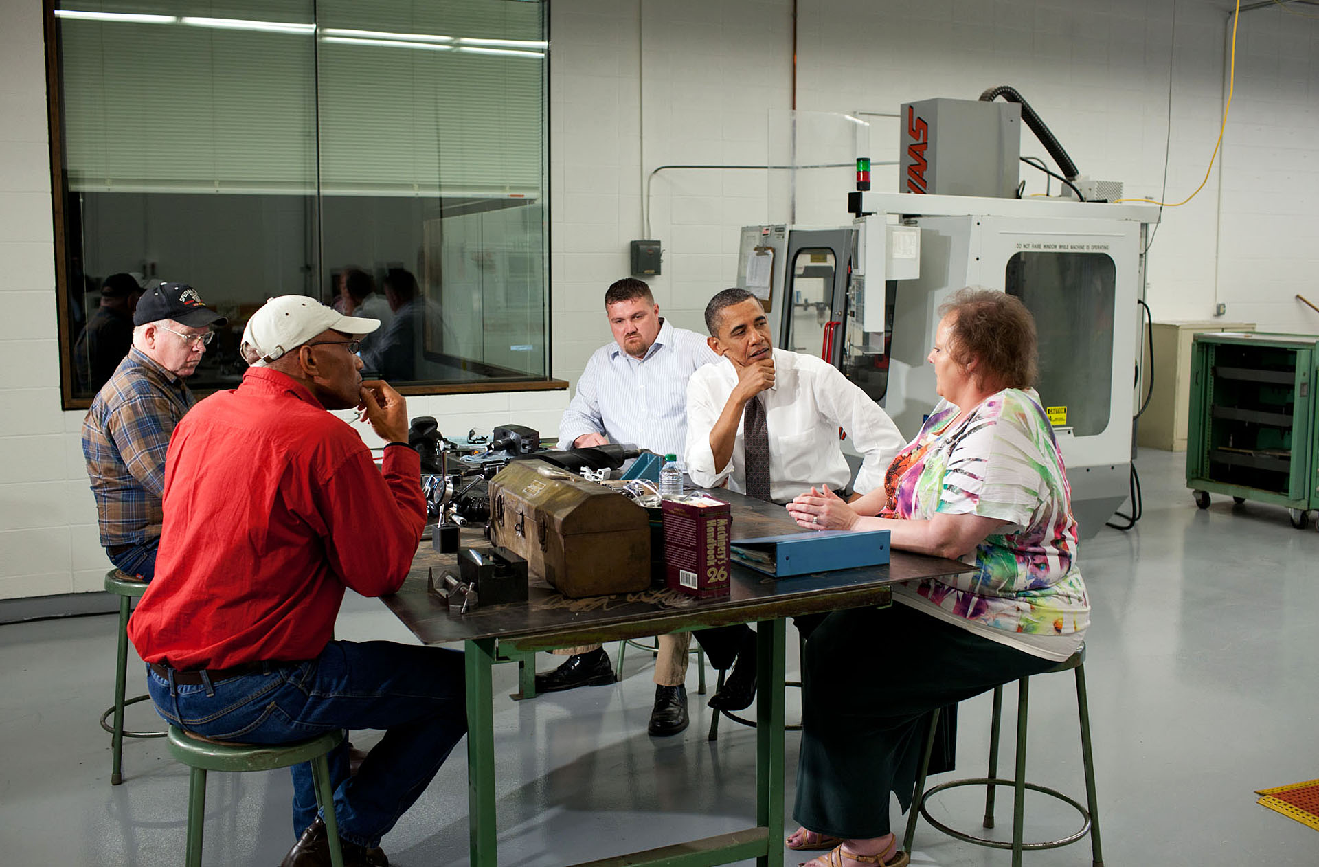 President Barack Obama Participates in a Roundtable with Unemployed Workers