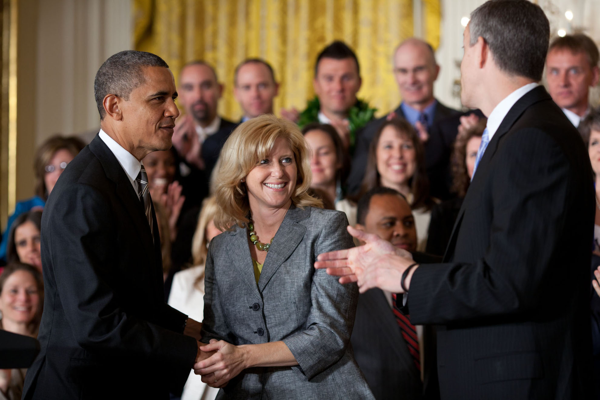 President Obama and Education Secretary Arne Duncan with 2012 National Teacher of the Year, Rebecca Mieliwocki
