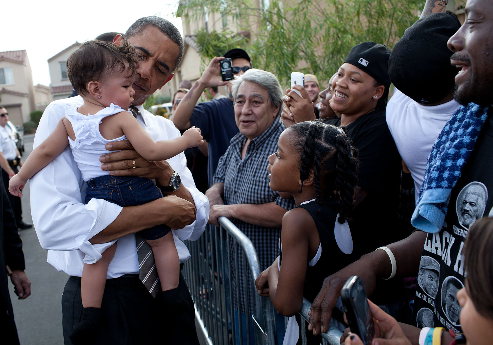 President Barack Obama Greets Neighbors In Las Vegas