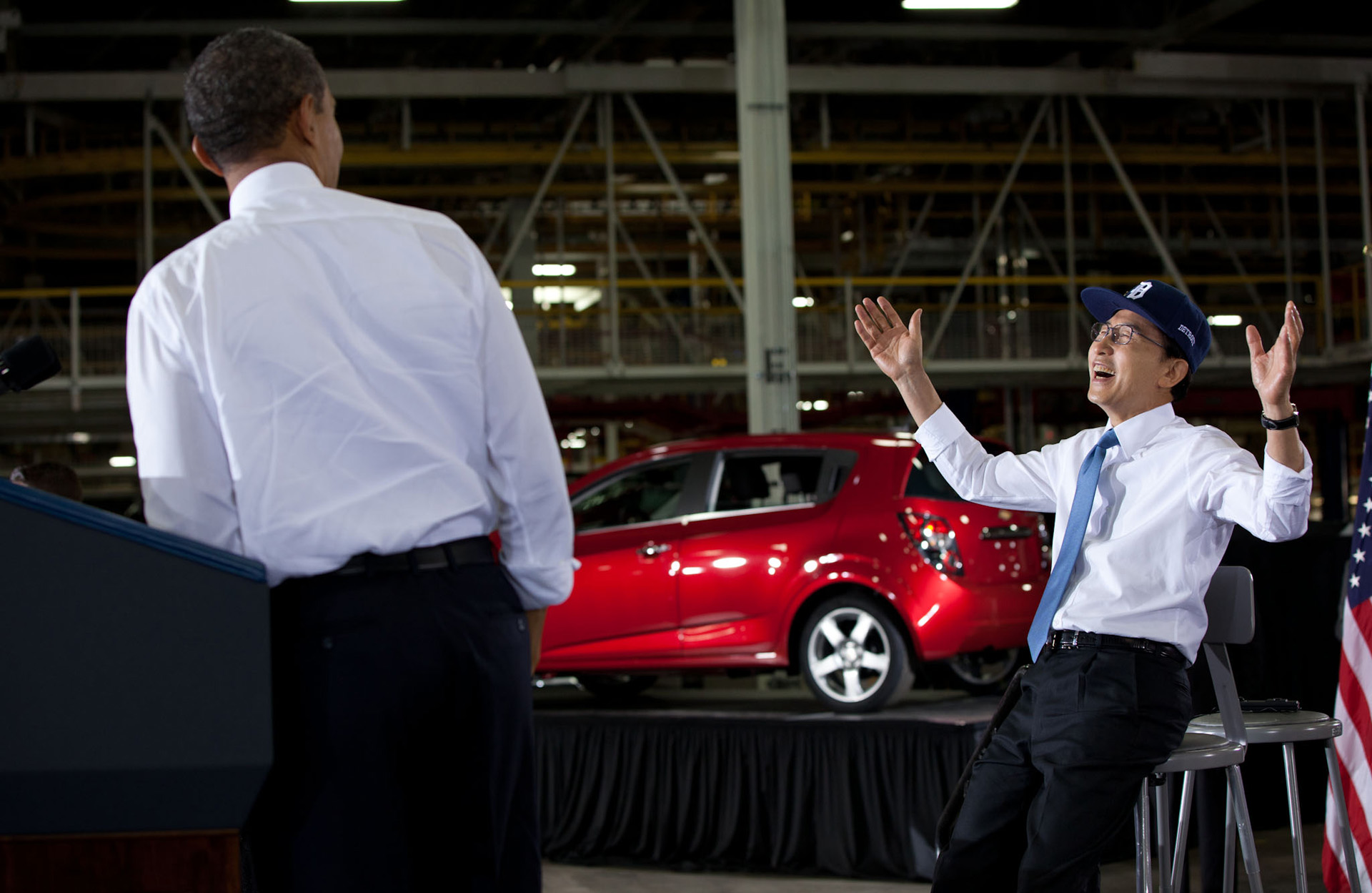 President Barack Obama and President Lee Myung-bak of the Republic of Korea deliver remarks at the Orion Assembly Plant