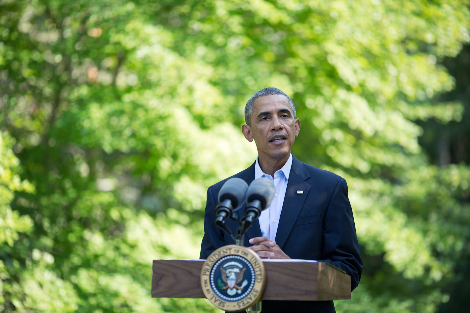 President Barack Obama makes a statement on the situation in Iraq from Chilmark, Mass., August 11, 2014.