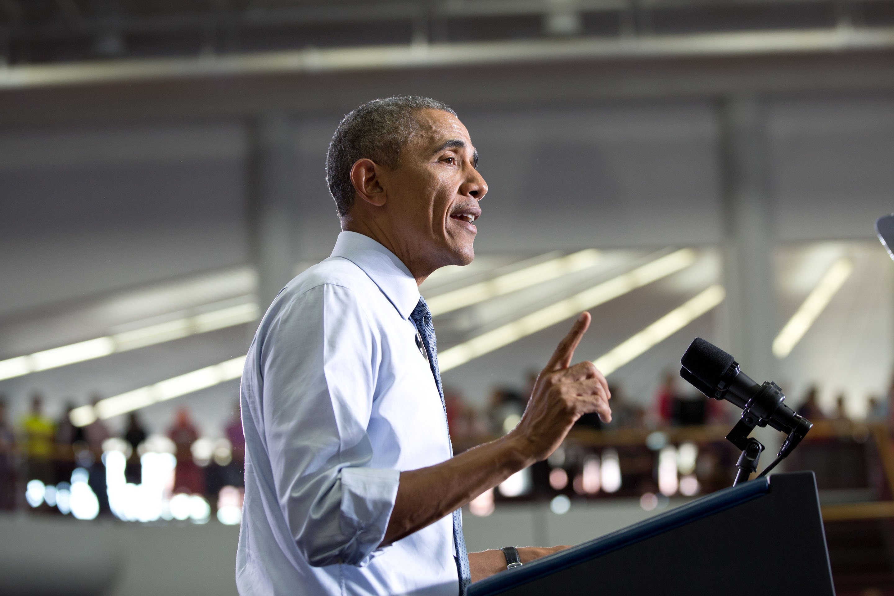 President Obama makes remarks at the University of Wisconsin at La Crosse