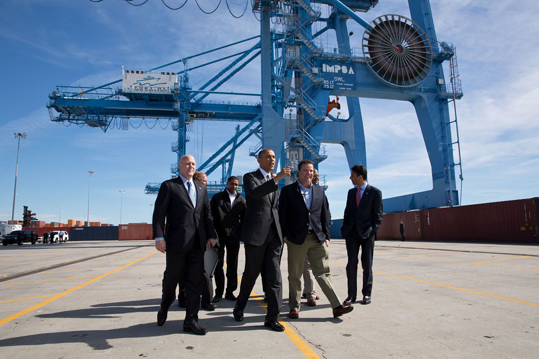 President Barack Obama tours the Port of New Orleans in New Orleans, La.