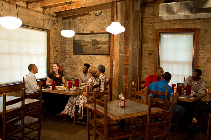 President Barack Obama Has Lunch And Talks With Local Residents At Stubbs BBQ
