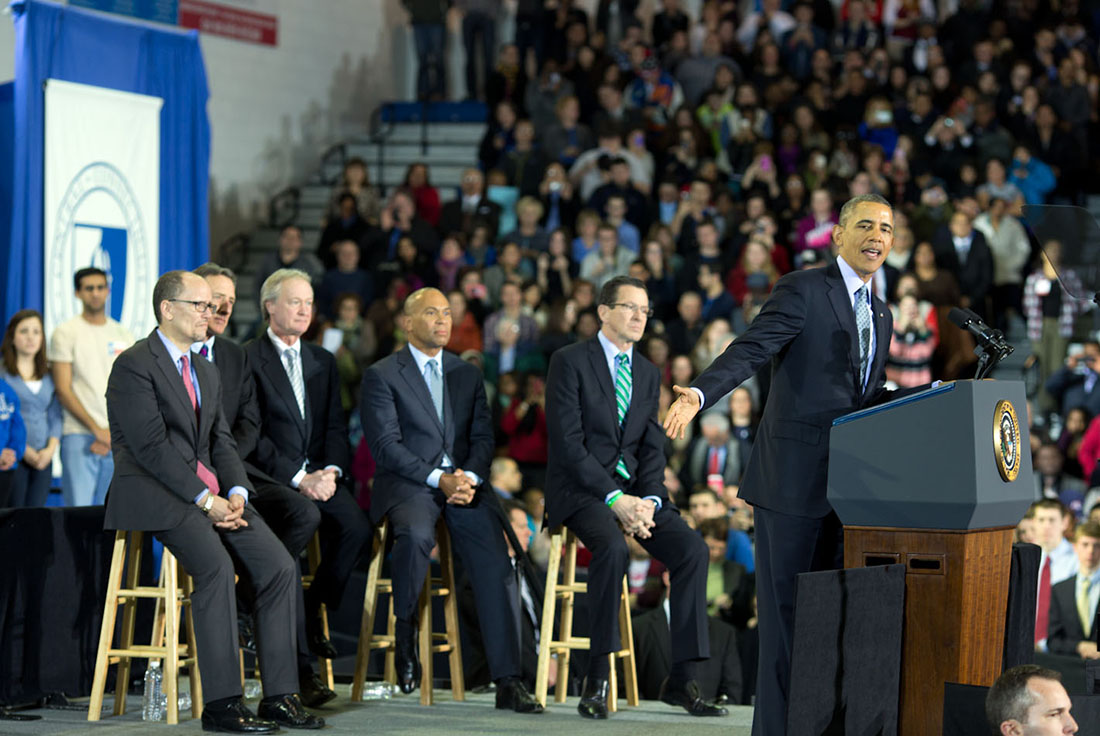 President Barack Obama delivers remarks on the minimum wage, at Central Connecticut State University