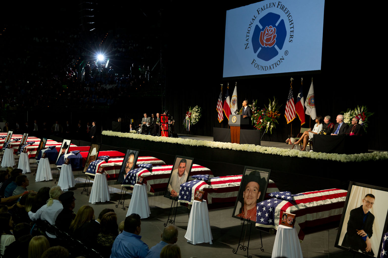 President Barack Obama delivers remarks during a memorial service at Baylor University