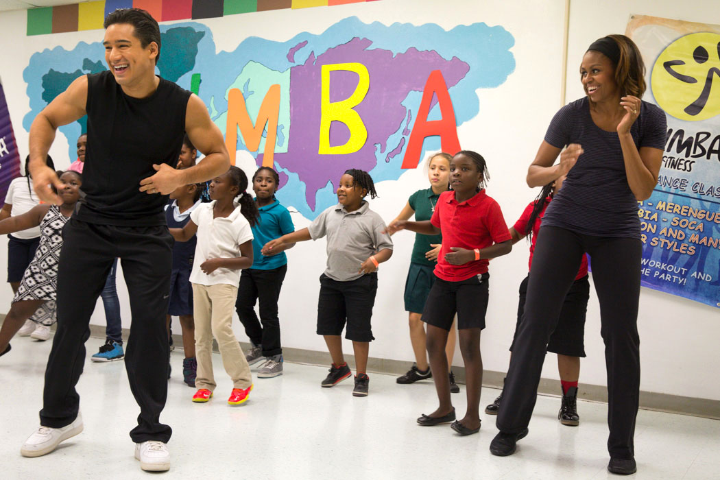 First Lady Michelle Obama participates in Zumba with Mario Lopez
