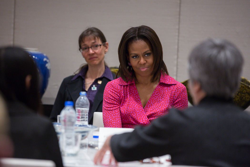 First Lady Michelle Obama at an Education Roundtable in Beijing