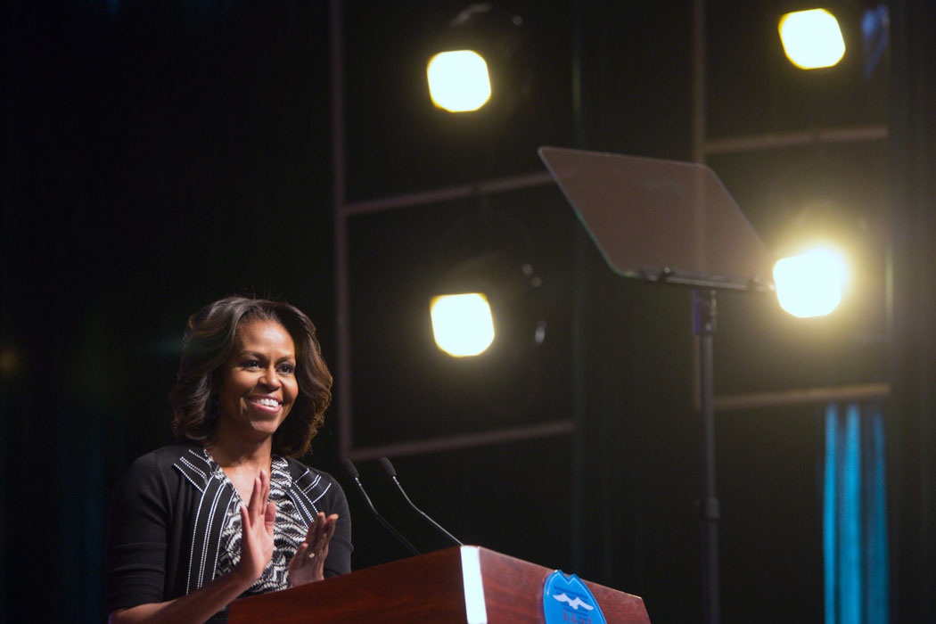 First Lady Michelle Obama delivers remarks at Number 7 School in Chengdu, China