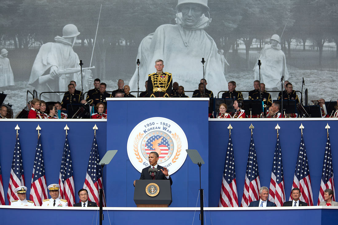 Commemoration in 2013: President Barack Obama delivers remarks to commemorate the 60th anniversary of the signing of the Armistice that ended the Korean War, at the Korean War Veterans Memorial in Washington, D.C., Saturday, July 27, 2013. (Official White House Photo by Amanda Lucidon)