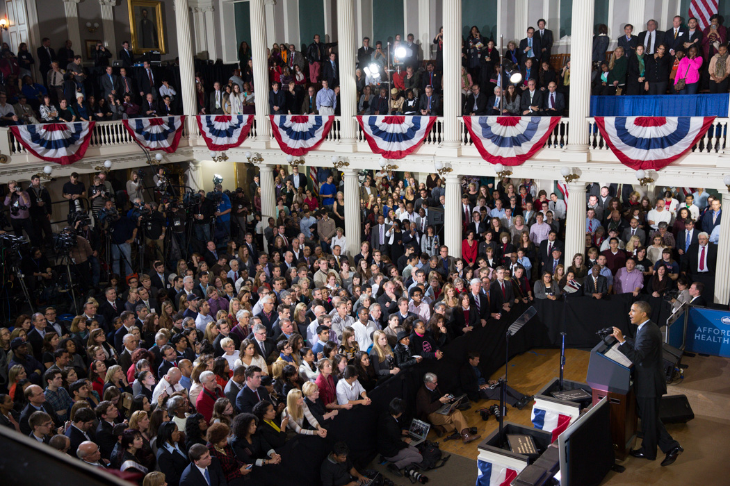 President Barack Obama delivers remarks regarding the Affordable Care Act, at Faneuil Hall