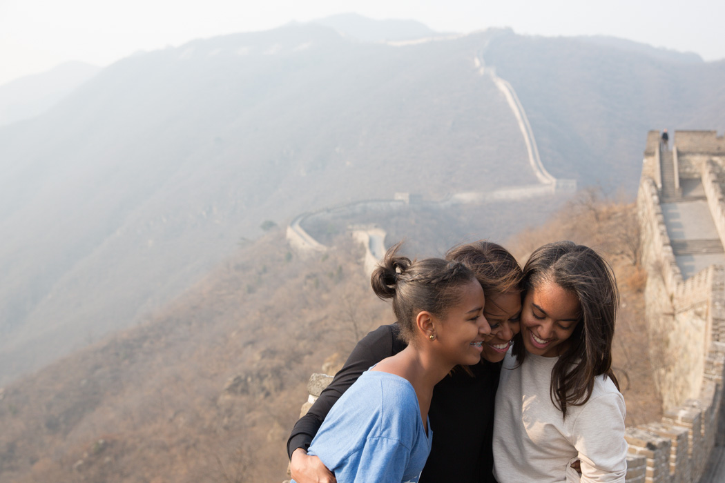 The First Lady and Daughters at the Great Wall