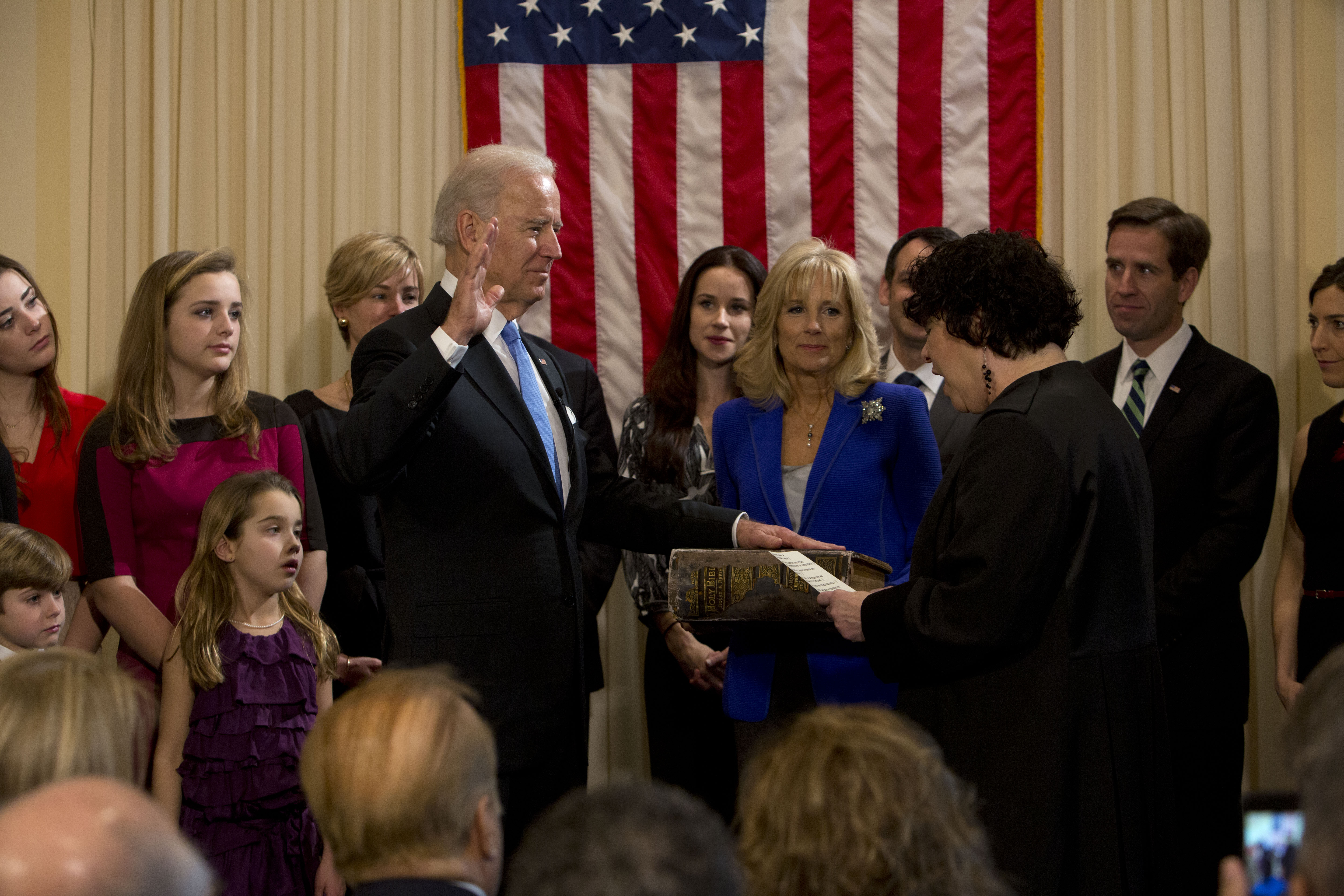 Supreme Court Justice Sonya Sotomayor administers the oath of office to Vice President Joe Biden