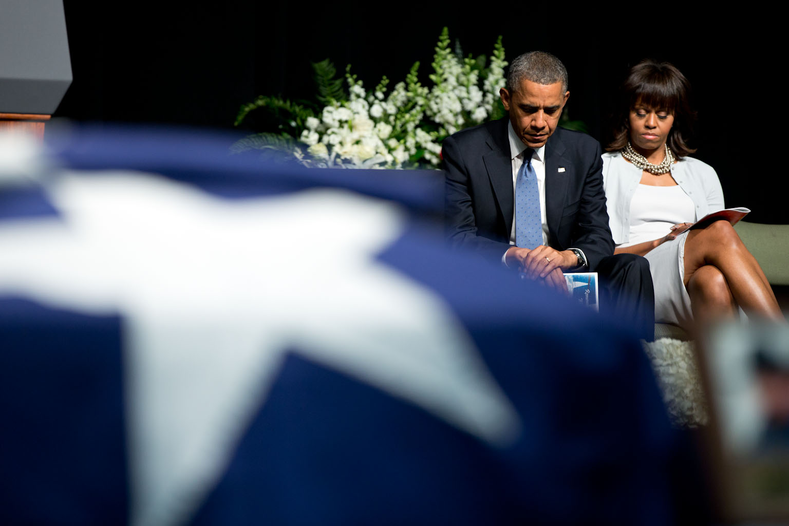 President Barack Obama and First Lady Michelle Obama attend a memorial service at Baylor University