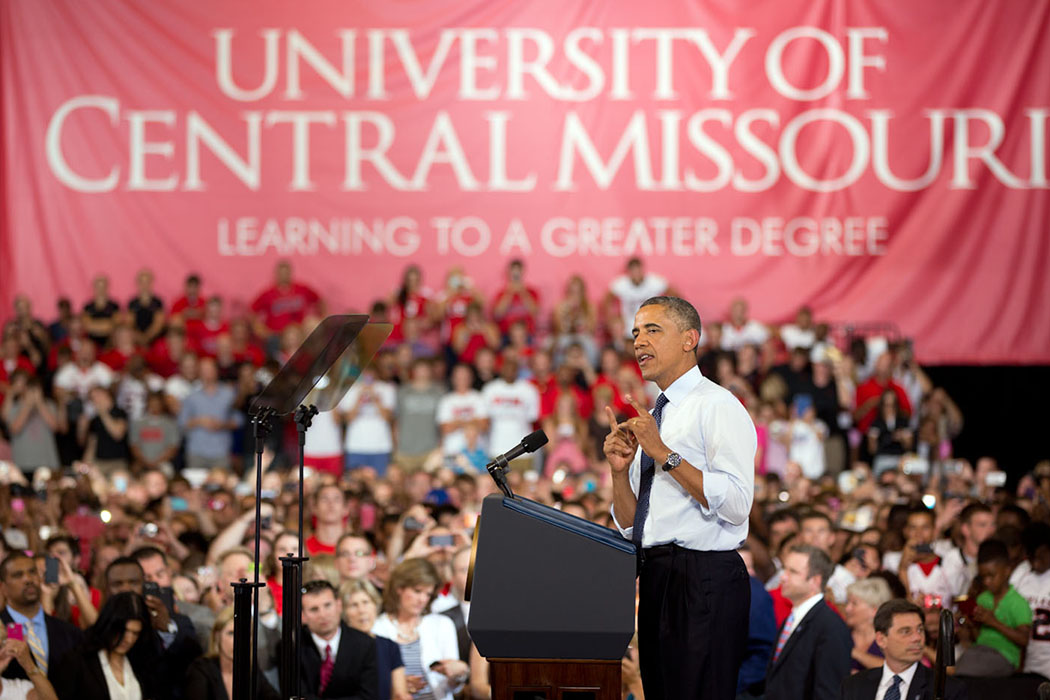 President Barack Obama delivers remarks on the economy at the University of Central Missouri